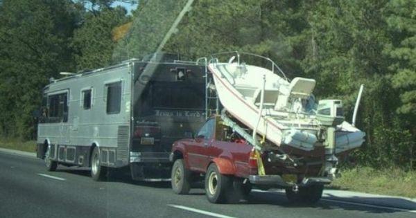 motorhome towing boat car